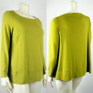 Womens EILEEN FISHER 1X Olive Green Knit Blouse